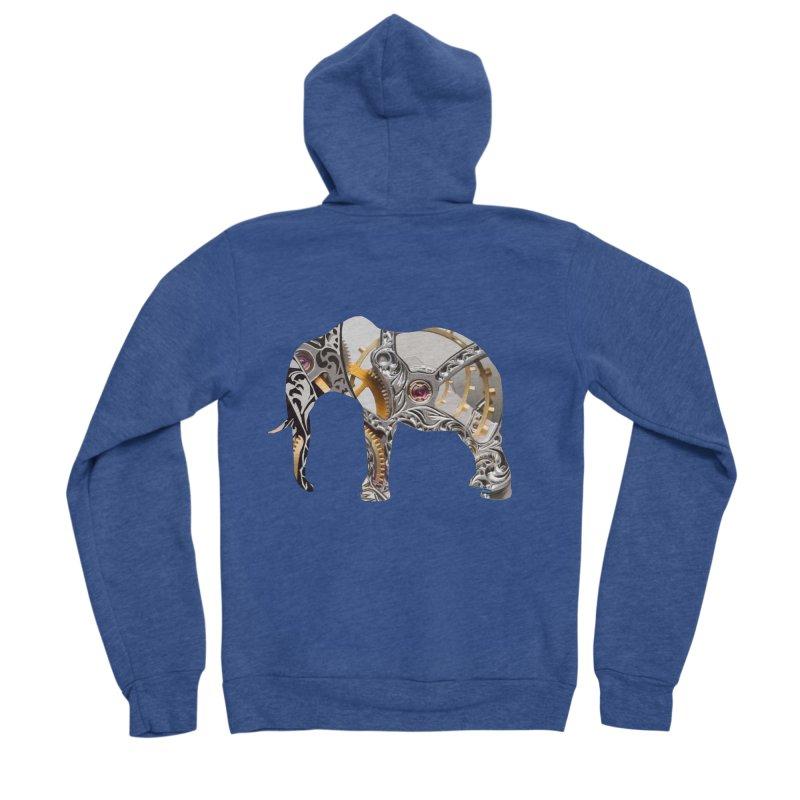 Clockwork Elephant Men's Sponge Fleece Zip-Up Hoody by Matthew Lacey-icarusismartdesigns
