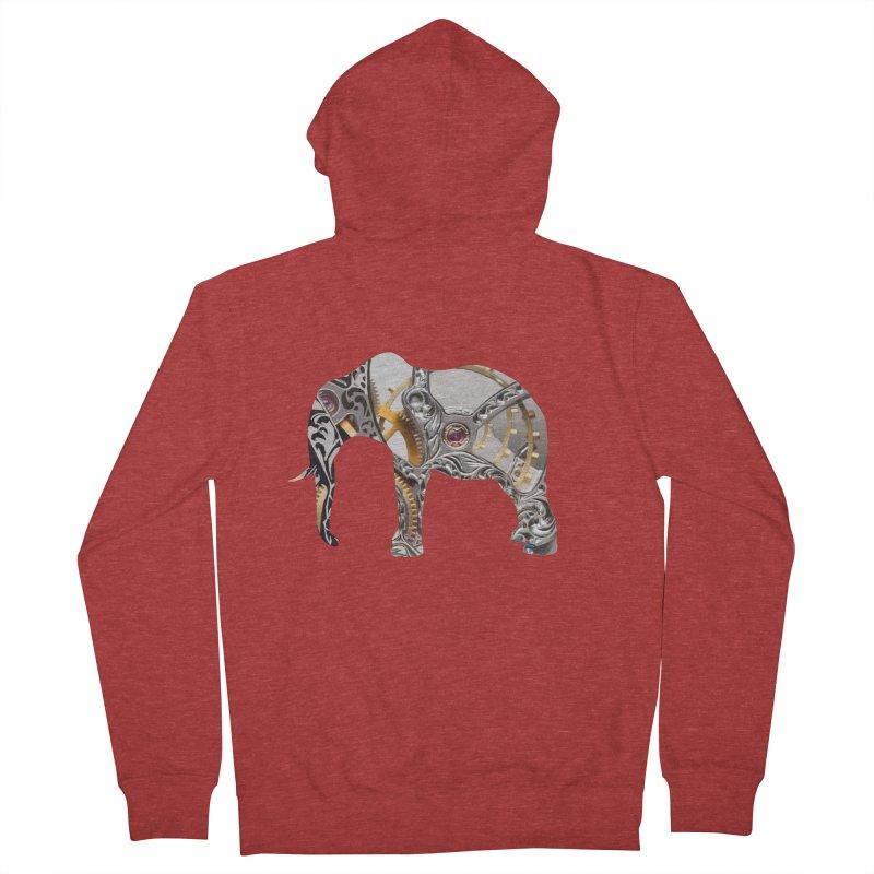 Clockwork Elephant Women's French Terry Zip-Up Hoody by Matthew Lacey-icarusismartdesigns