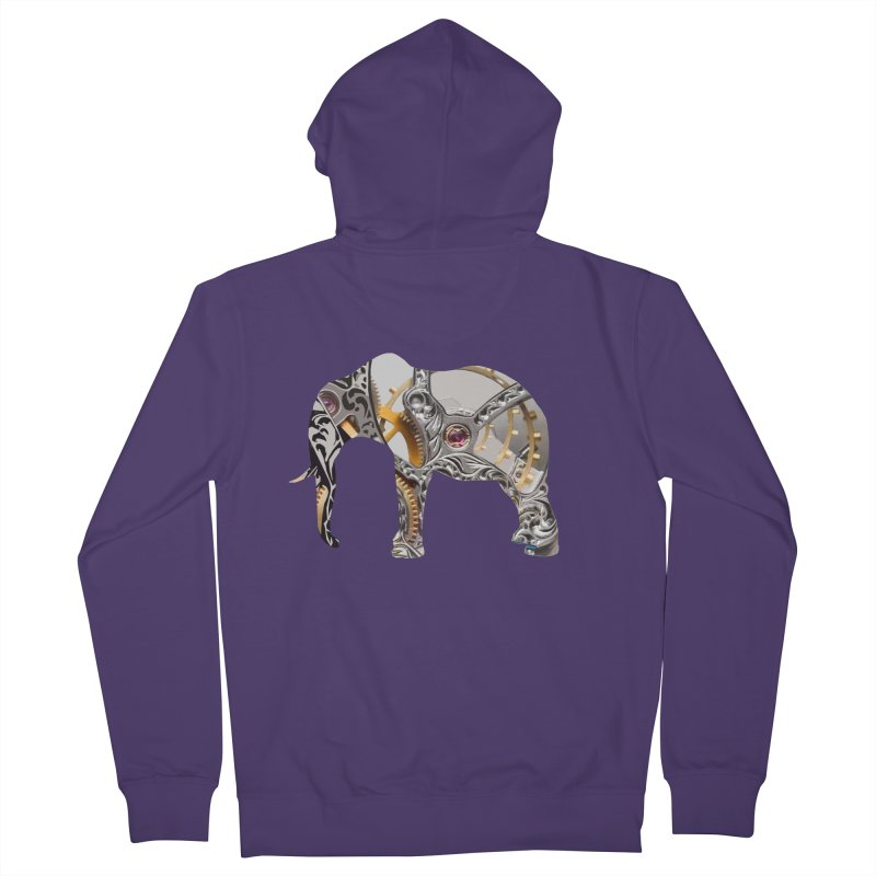 Clockwork Elephant Women's French Terry Zip-Up Hoody by Matthew Lacey-icarusismartdesigns