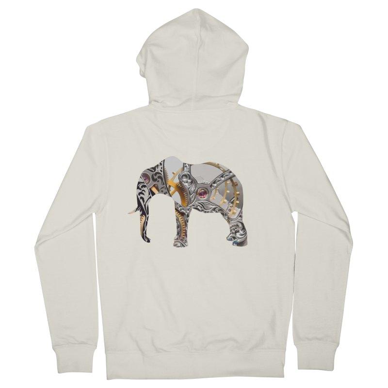 Clockwork Elephant Men's French Terry Zip-Up Hoody by Matthew Lacey-icarusismartdesigns