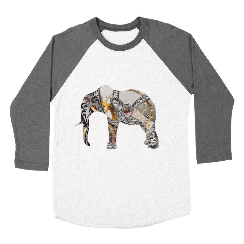 Clockwork Elephant Women's Baseball Triblend Longsleeve T-Shirt by Matthew Lacey-icarusismartdesigns