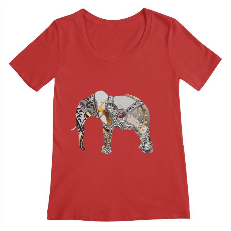 Clockwork Elephant Women's Regular Scoop Neck by Matthew Lacey-icarusismartdesigns