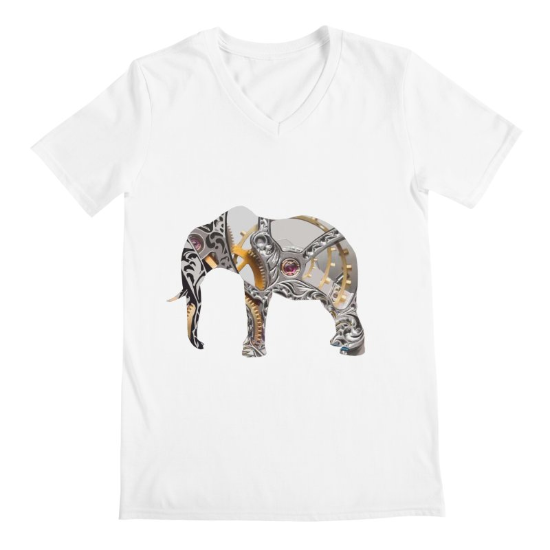 Clockwork Elephant Men's V-Neck by Matthew Lacey-icarusismartdesigns
