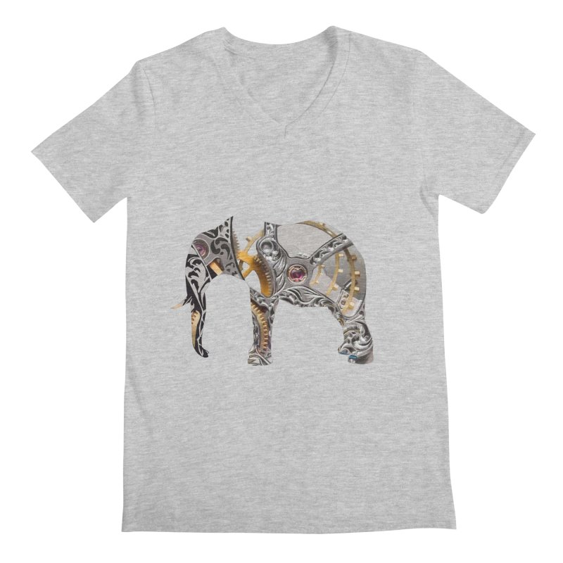 Clockwork Elephant Men's Regular V-Neck by Matthew Lacey-icarusismartdesigns