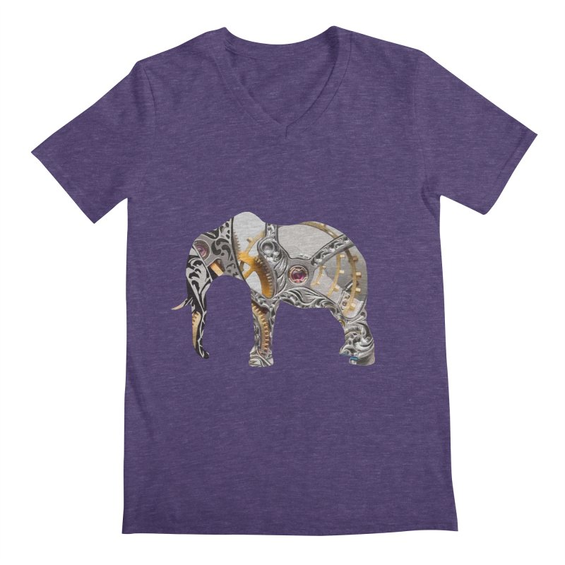 Clockwork Elephant Men's Regular V-Neck by Matthew Lacey-icarusismartdesigns