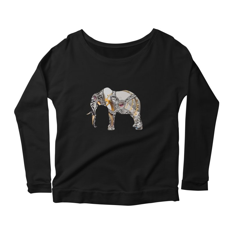 Clockwork Elephant Women's Scoop Neck Longsleeve T-Shirt by Matthew Lacey-icarusismartdesigns