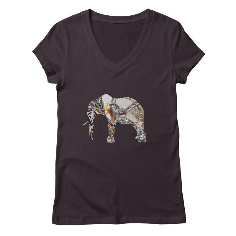 Clockwork Elephant Women's V-Neck by Matthew Lacey-icarusismartdesigns