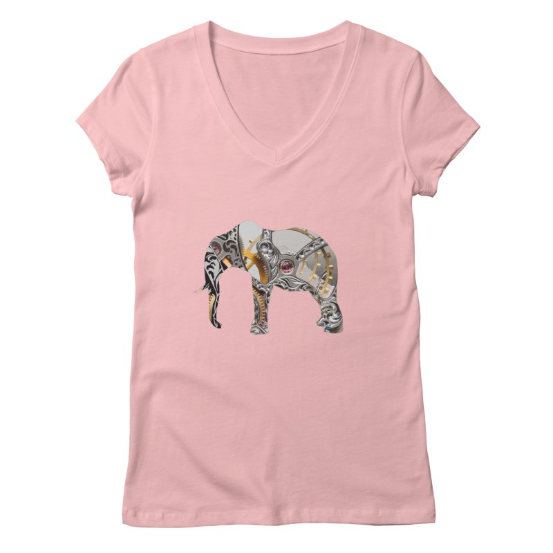 Clockwork Elephant Women's V-Neck by Matthew Lacey-icarusismartdesigns