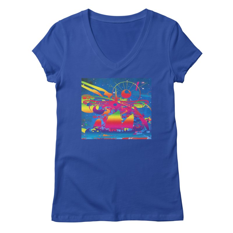 Star Ship Women's V-Neck by Matthew Lacey-icarusismartdesigns
