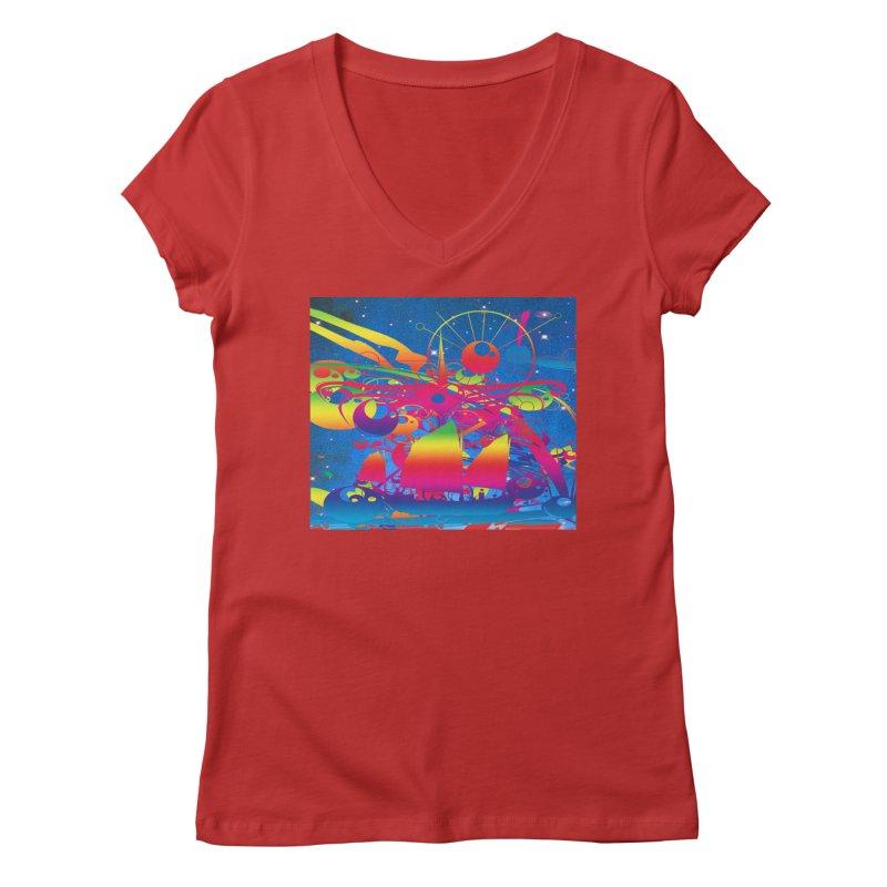 Star Ship Women's V-Neck by Matthew Lacey-icarusismartdesigns