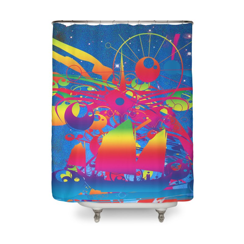 Star Ship Home Shower Curtain by Matthew Lacey-icarusismartdesigns