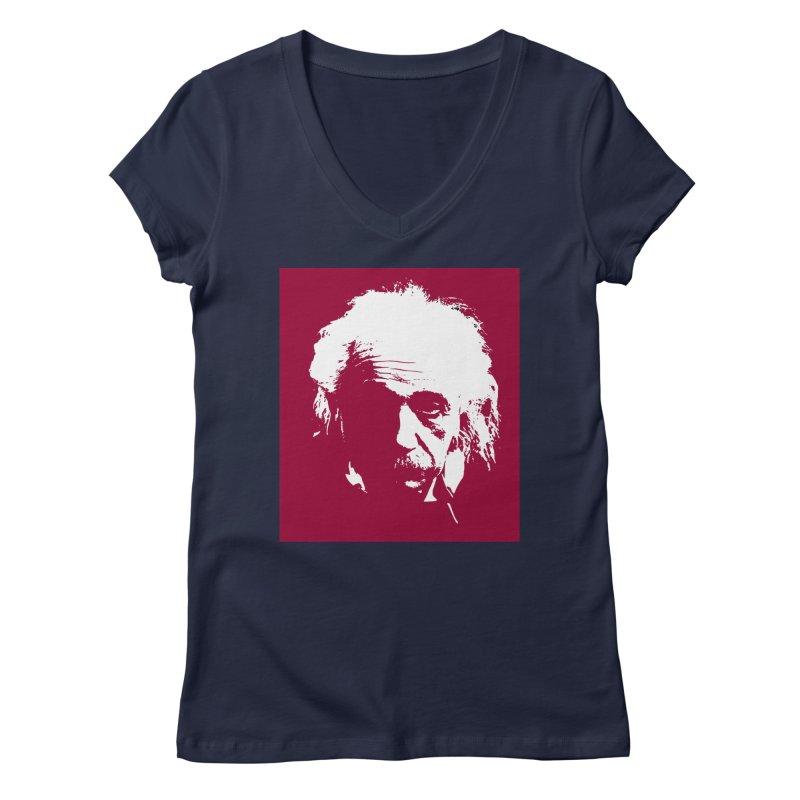 Albert Einstein Women's V-Neck by Matthew Lacey-icarusismartdesigns