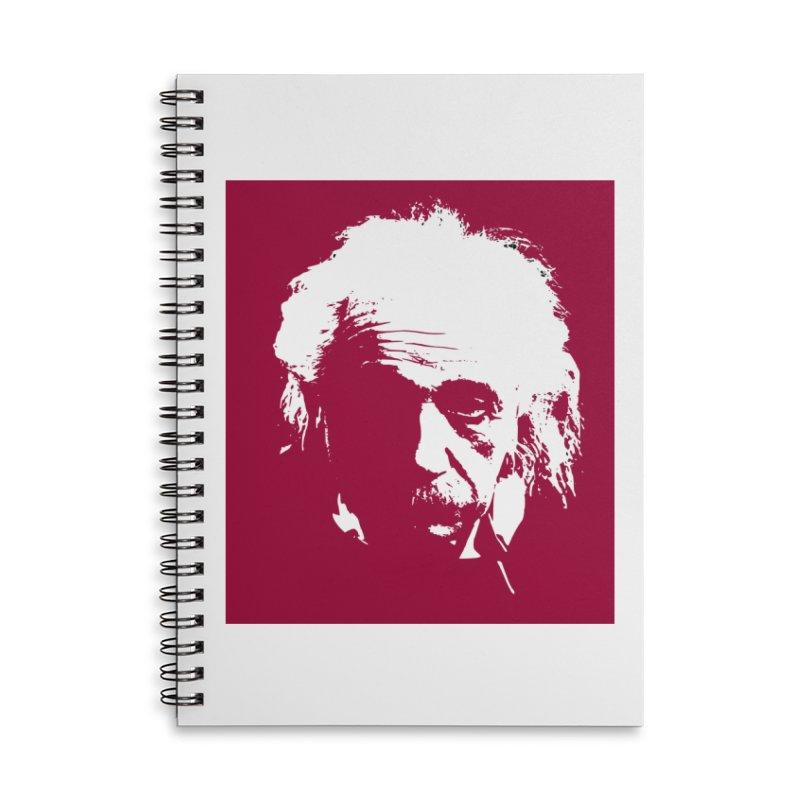 Albert Einstein Accessories Lined Spiral Notebook by Matthew Lacey-icarusismartdesigns