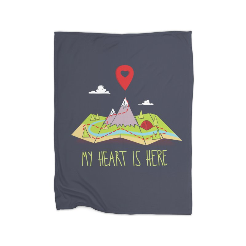MY HEART IS HERE Home Fleece Blanket Blanket by iCKY the Great's Artist Shop