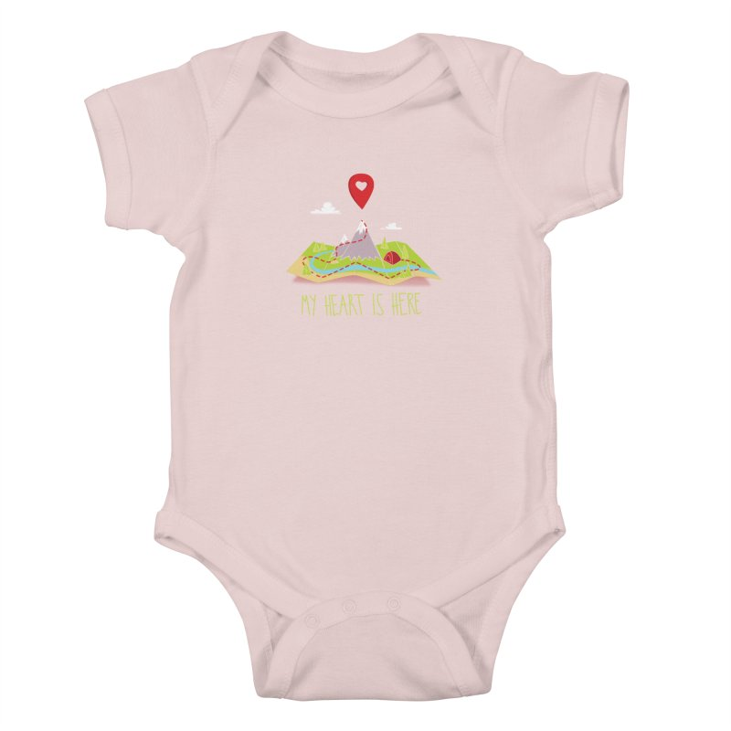 MY HEART IS HERE Kids Baby Bodysuit by iCKY the Great's Artist Shop
