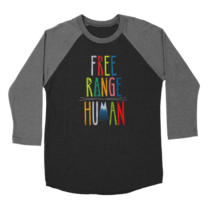 FREE RANGE HUMAN (super party edition) Men's Baseball Triblend Longsleeve T-Shirt by iCKY the Great's Artist Shop