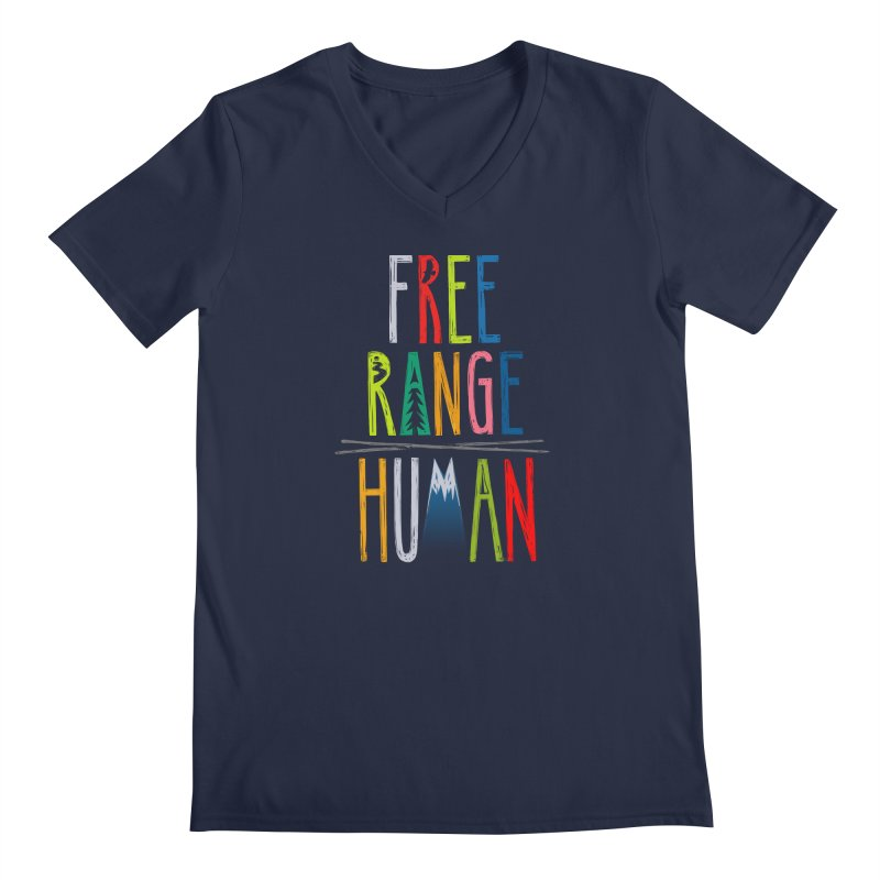 FREE RANGE HUMAN (super party edition) Men's Regular V-Neck by iCKY the Great's Artist Shop