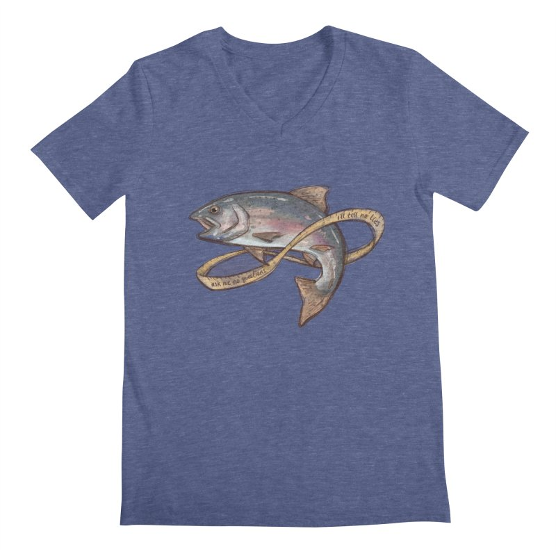 FISHING TRUTHS (no drop shadow) Men's Regular V-Neck by iCKY the Great's Artist Shop