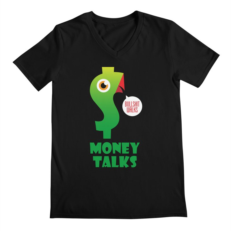 Money Talks Men's Regular V-Neck by iconnico