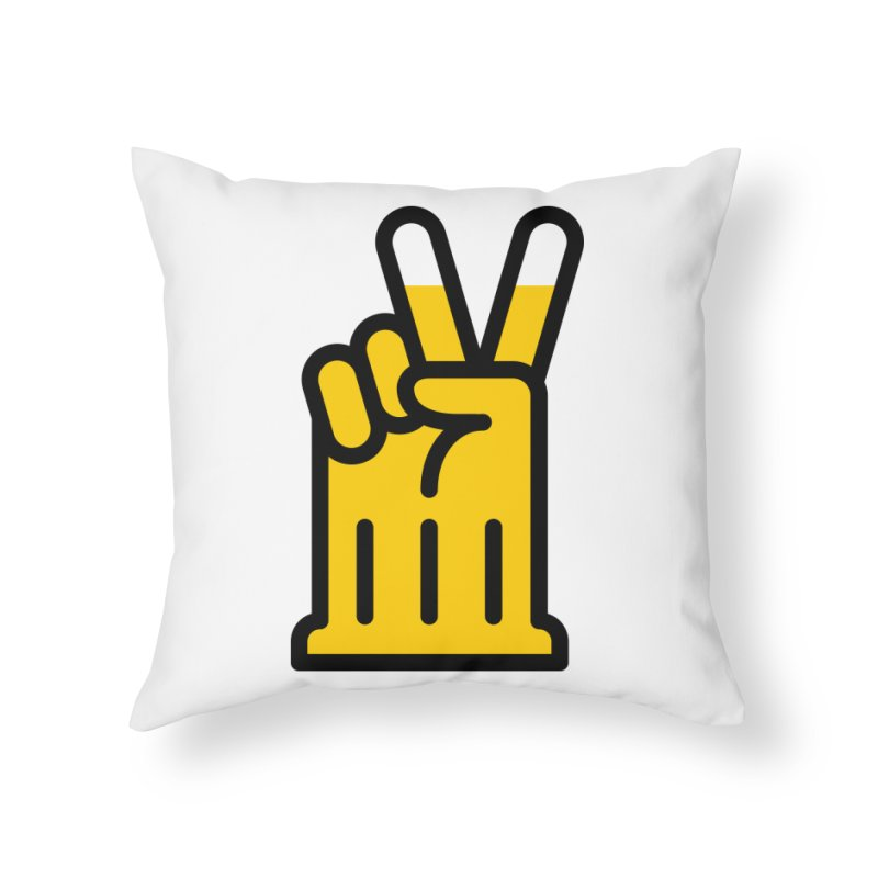 Two Beers Home Throw Pillow by iconnico