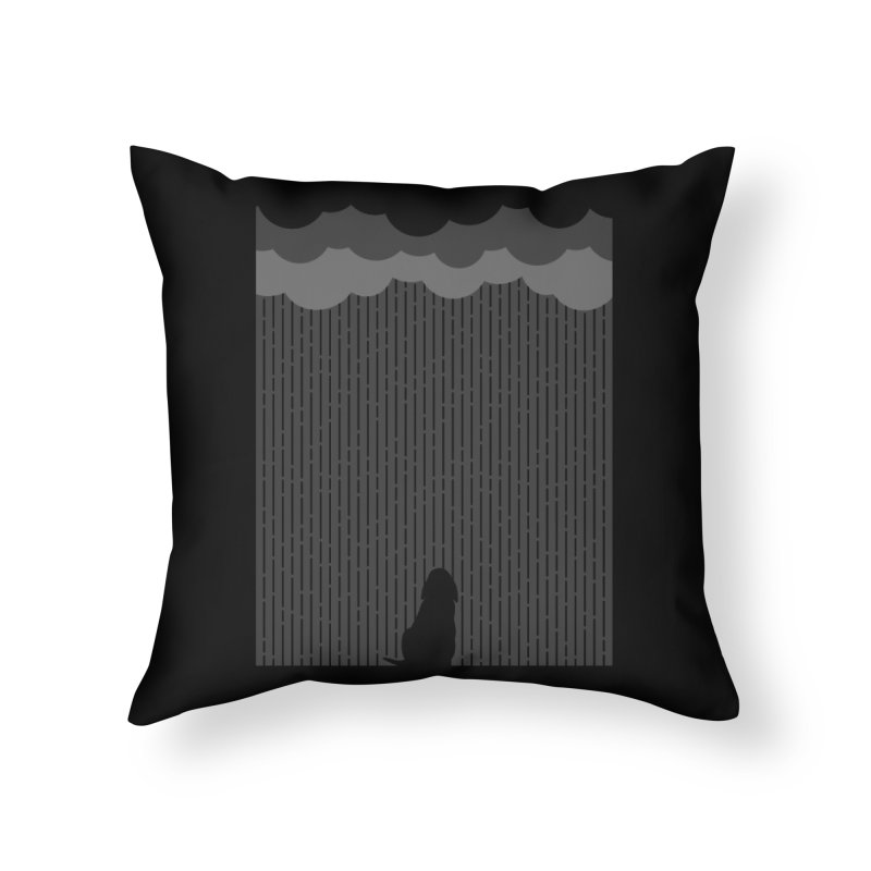 Lonely Dog Home Throw Pillow by iconnico