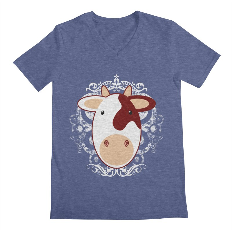Cowwy Men's Regular V-Neck by Ideacrylic Shop
