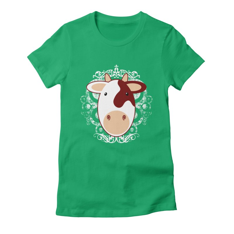 Cowwy Women's Fitted T-Shirt by Ideacrylic Shop