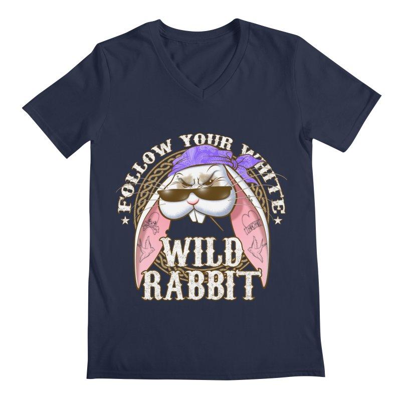 Wild Rabbit Men's Regular V-Neck by Ideacrylic Shop