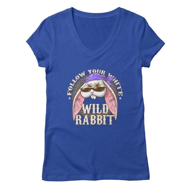Wild Rabbit Women's Regular V-Neck by Ideacrylic Shop