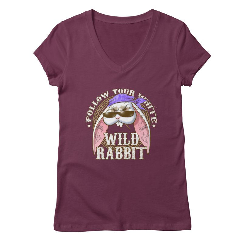 Wild Rabbit Women's Regular V-Neck by Ideacrylic Shop