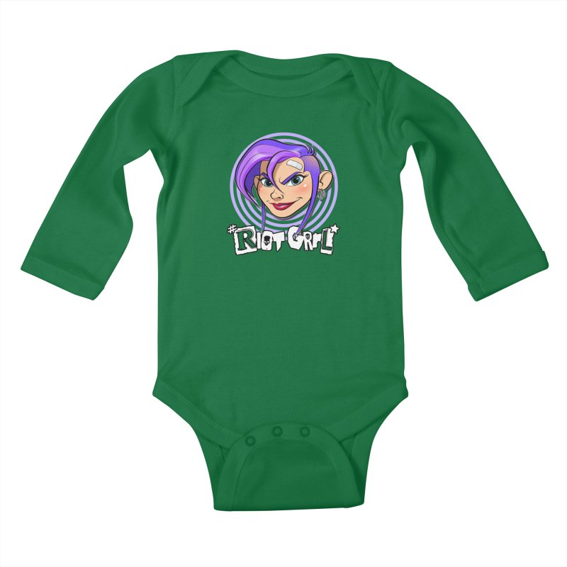 Riot Grrl Kids Baby Longsleeve Bodysuit by Ideacrylic Shop