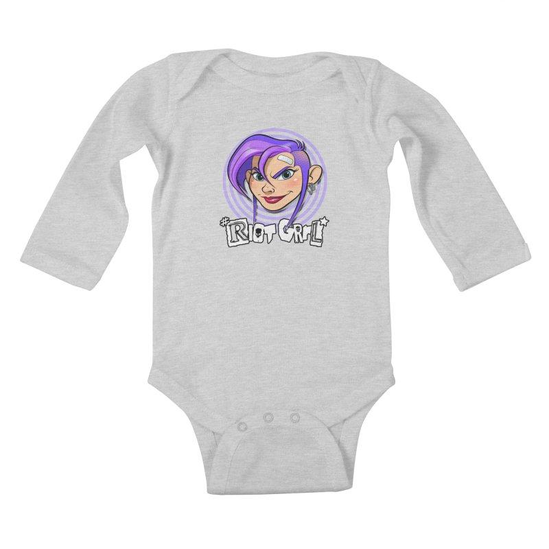 Riot Grrl Kids Baby Longsleeve Bodysuit by Ideacrylic Shop