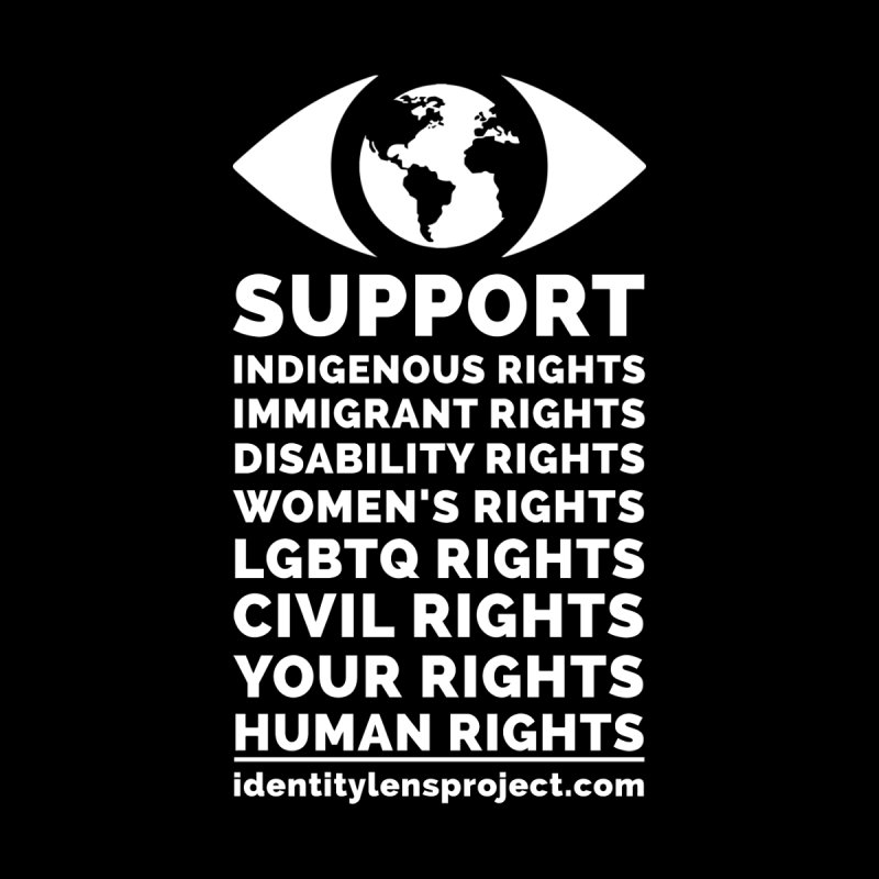 I Support All Human Rights (White Logo) - Original Identity-Lens Project Design Men's T-Shirt by The Identity-Lens Project (Nonprofit) Official
