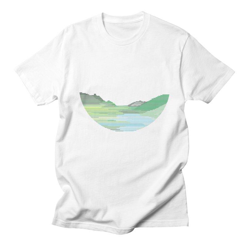Mountain Landscape in Men's Regular T-Shirt White by Ideographo's Artist Shop