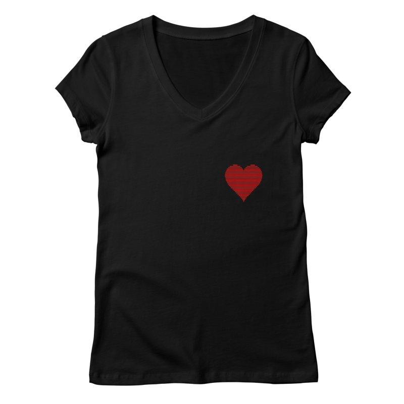 I Love in Women's Regular V-Neck Black by Ideographo's Artist Shop