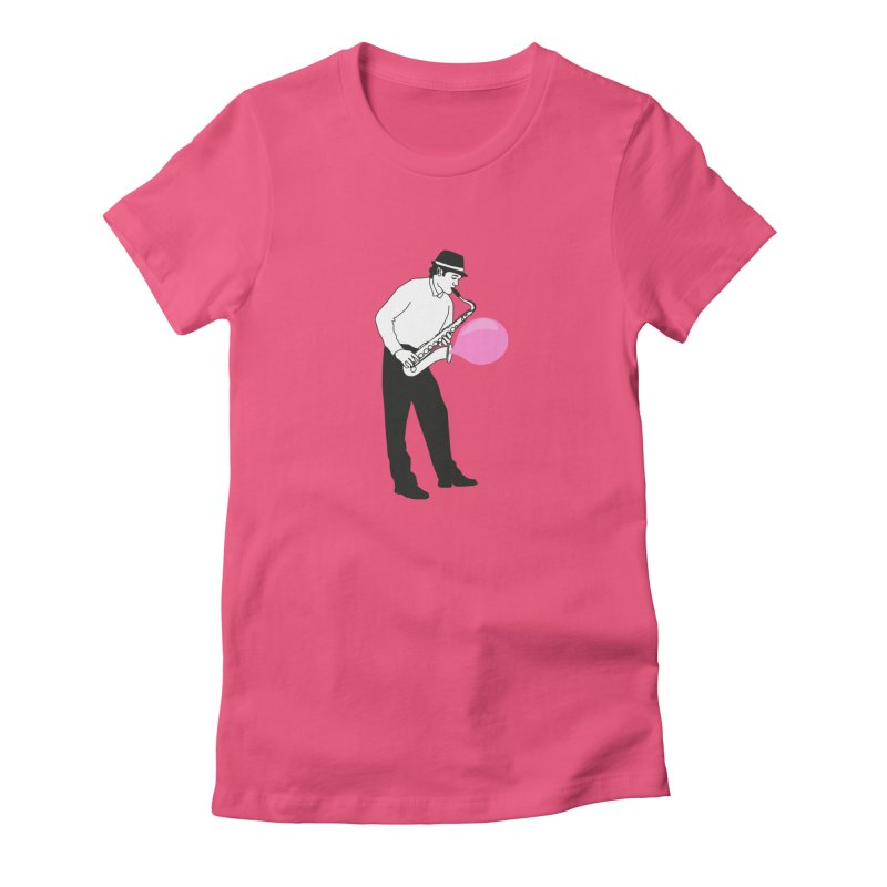 Saxopink in Women's Fitted T-Shirt Fuchsia by Ideographo's Artist Shop