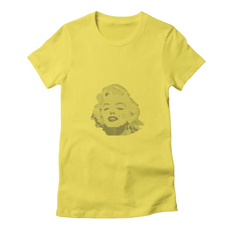Line Portrait of Marilyn in Women's Fitted T-Shirt Vibrant Yellow by Ideographo's Artist Shop