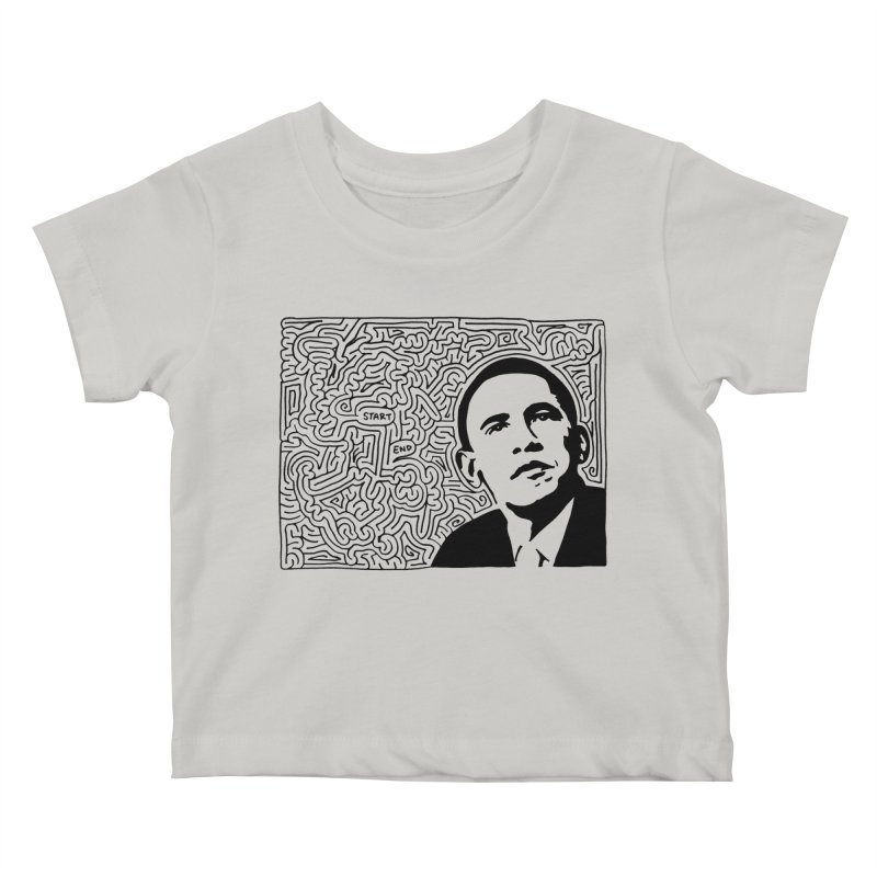 Obama Maze (black) Kids Baby T-Shirt by idrawmazes's Artist Shop