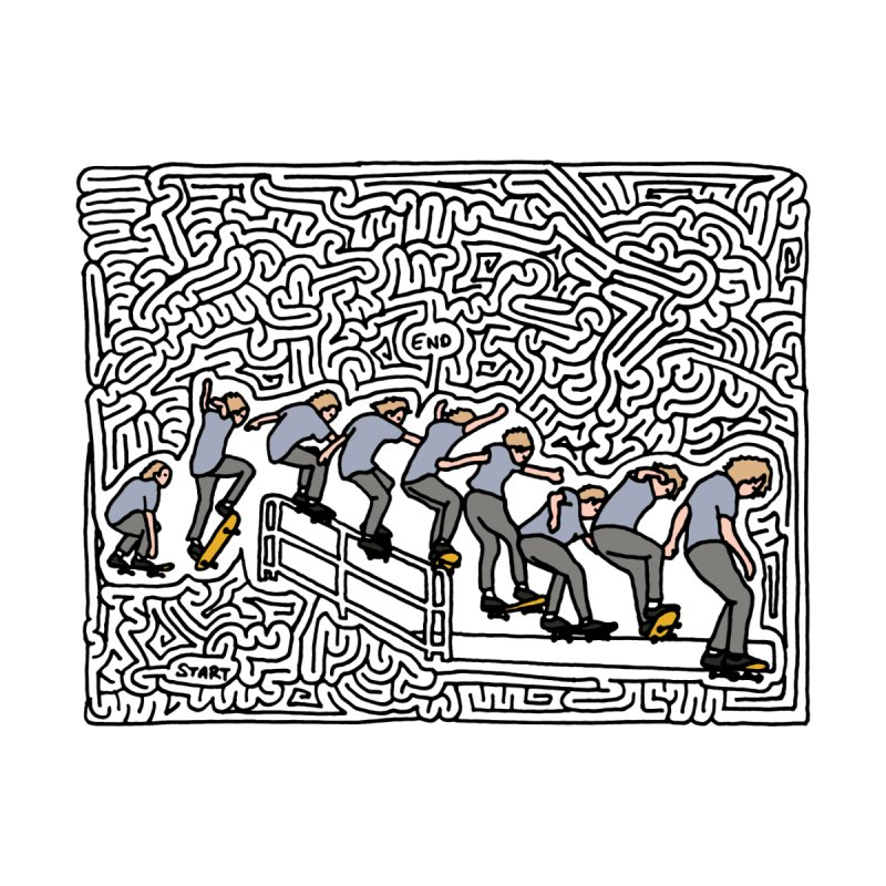 Dan Lu maze (black & color) by idrawmazes's Artist Shop