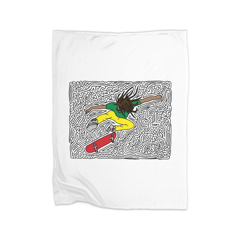 Neen maze (black & color) Home Fleece Blanket Blanket by I Draw Mazes's Artist Shop