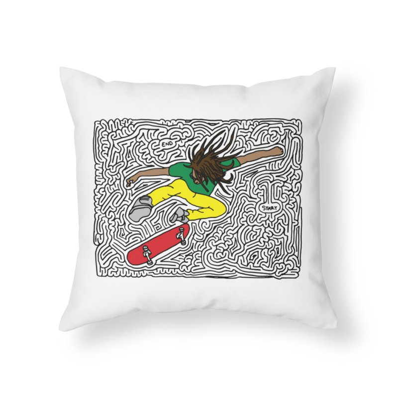 Neen maze (black & color) Home Throw Pillow by I Draw Mazes's Artist Shop
