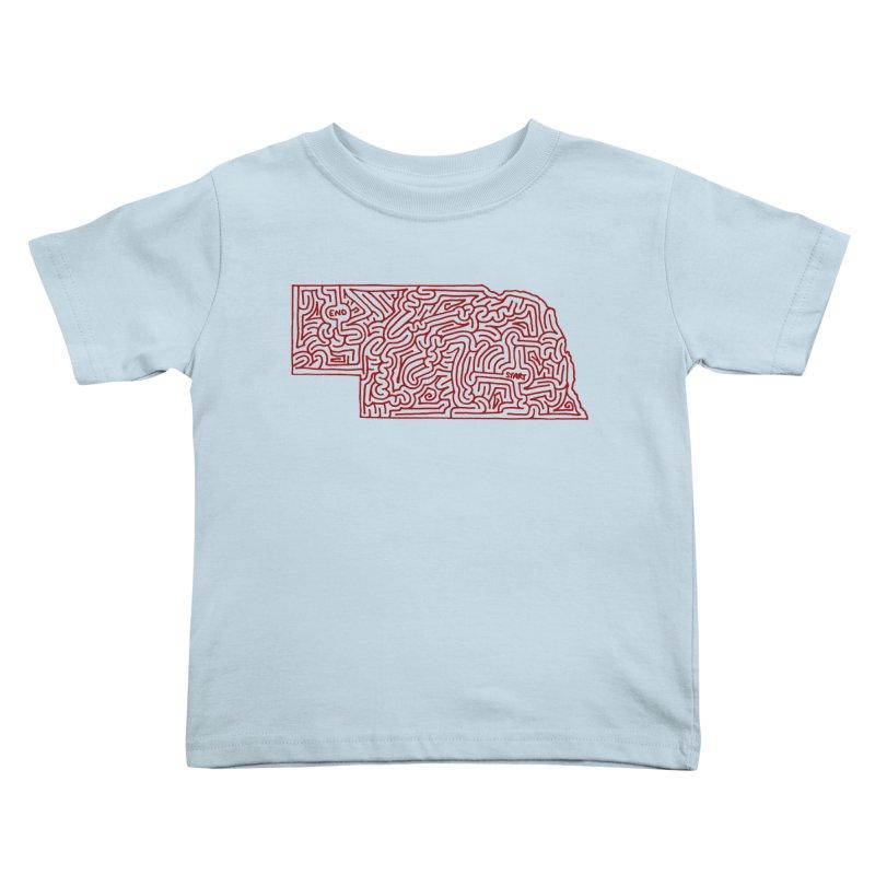 Nebraska maze (red) Kids Toddler T-Shirt by idrawmazes's Artist Shop