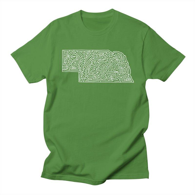 Nebraska maze (white) Women's Unisex T-Shirt by idrawmazes's Artist Shop