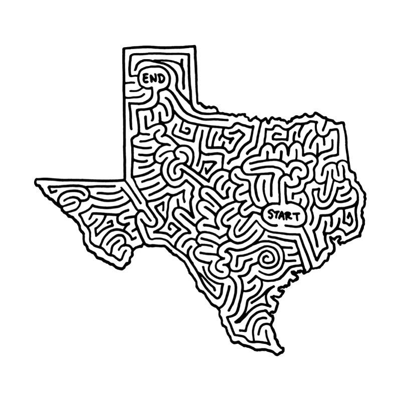 Texas maze (black) by I Draw Mazes's Artist Shop