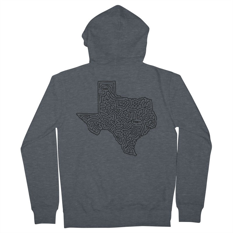Texas maze (black) Women's Zip-Up Hoody by idrawmazes's Artist Shop