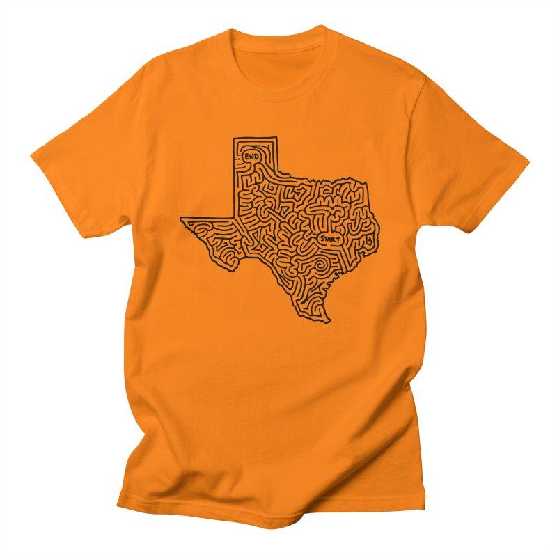 Texas maze (black) Women's Regular Unisex T-Shirt by I Draw Mazes's Artist Shop