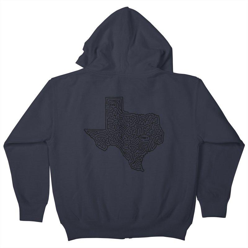 Texas maze (black) Kids Zip-Up Hoody by idrawmazes's Artist Shop
