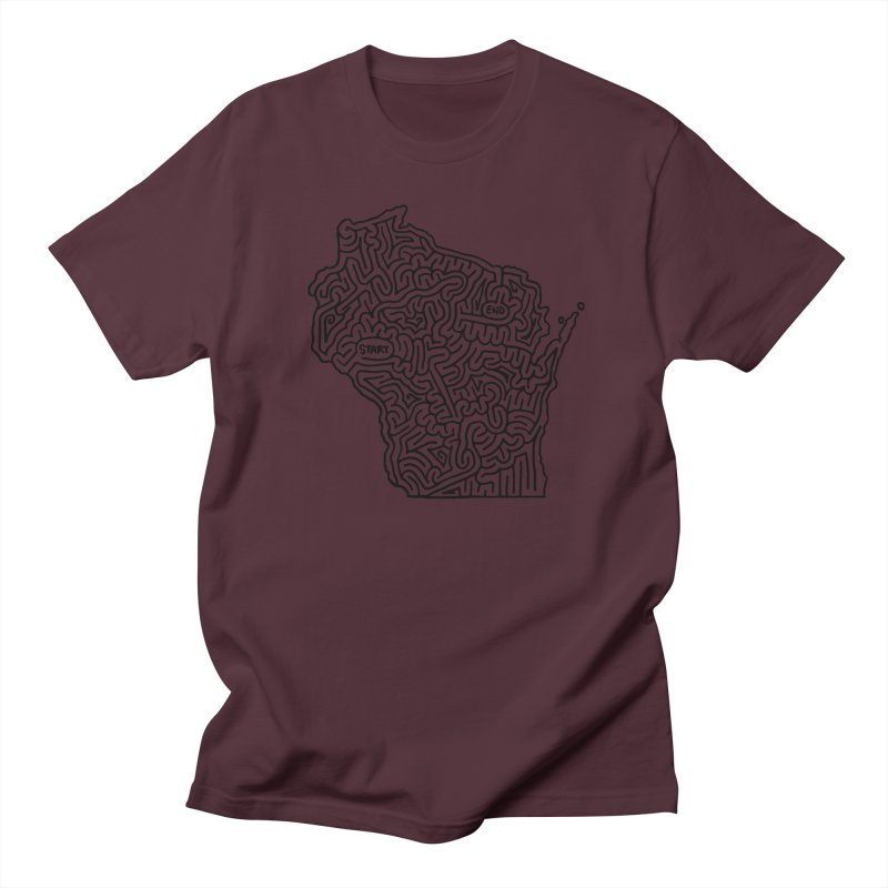 Wisconsin maze (black) Women's Unisex T-Shirt by idrawmazes's Artist Shop