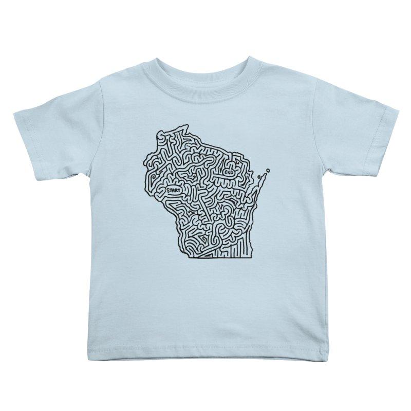 Wisconsin maze (black) Kids Toddler T-Shirt by idrawmazes's Artist Shop