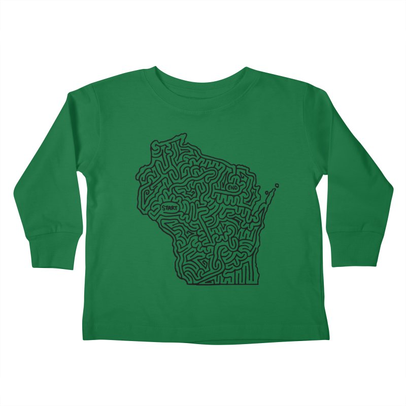 Wisconsin maze (black) Kids Toddler Longsleeve T-Shirt by idrawmazes's Artist Shop
